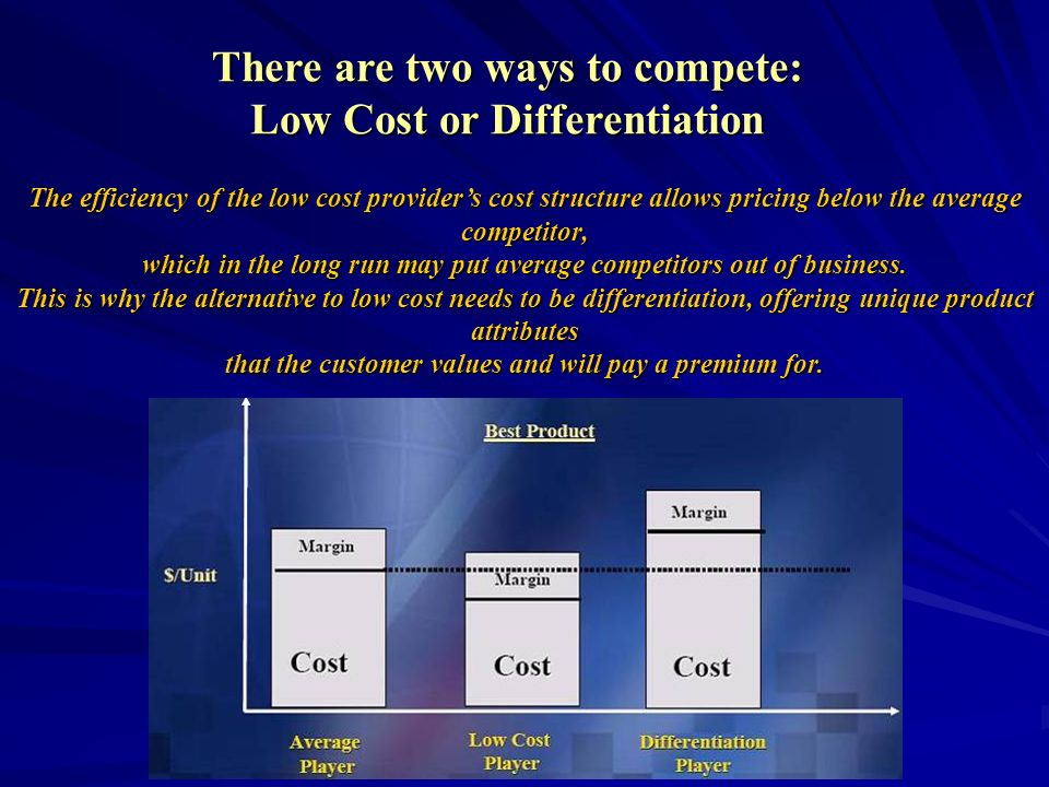 There are two ways to compete: Low Cost or Differentiation