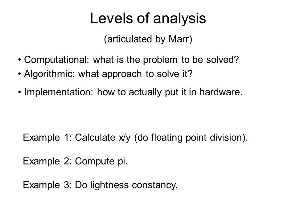 Levels of analysis (articulated by Marr)