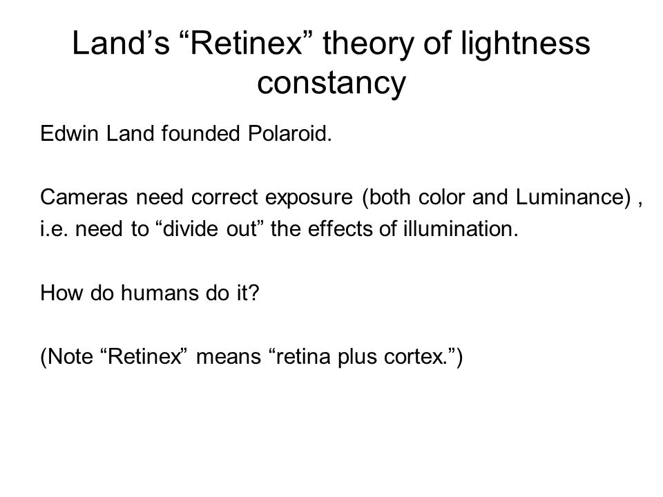 Land's Retinex theory of lightness constancy