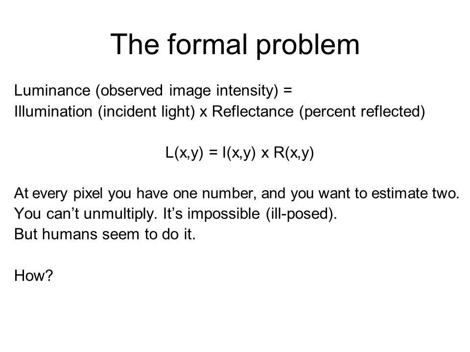 The formal problem Luminance (observed image intensity) =
