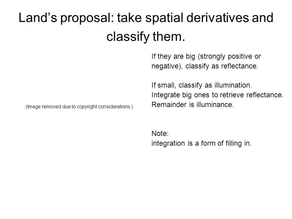 Land's proposal: take spatial derivatives and classify them.