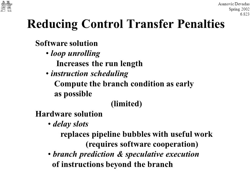 Reducing Control Transfer Penalties