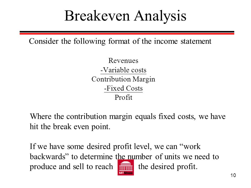 Breakeven Analysis Consider the following format of the income statement. Revenues. -Variable costs.