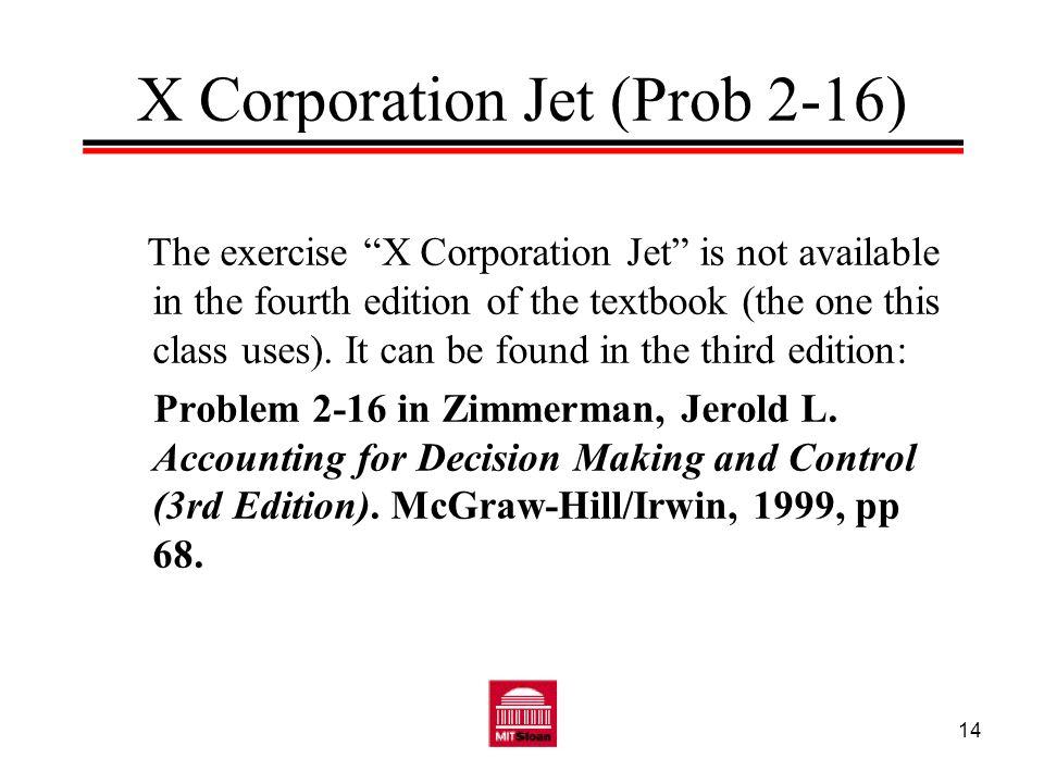 X Corporation Jet (Prob 2-16)