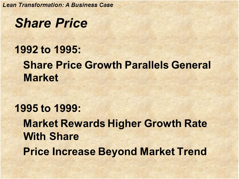 Share Price 1992 to 1995: Share Price Growth Parallels General Market