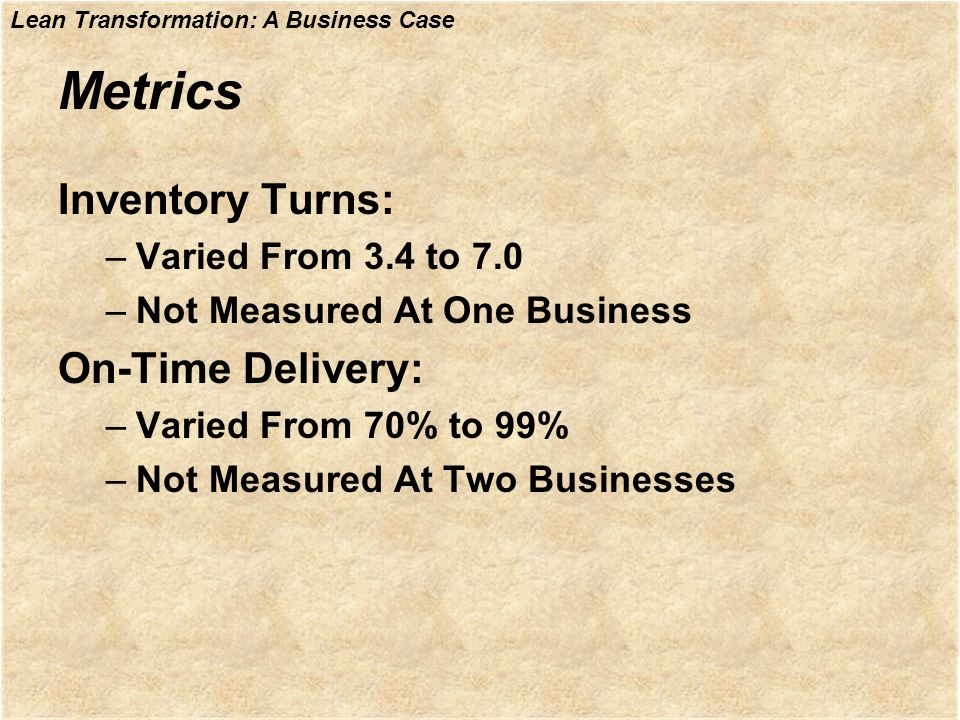 Metrics Inventory Turns: On-Time Delivery: Varied From 3.4 to 7.0