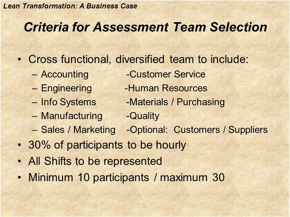Criteria for Assessment Team Selection