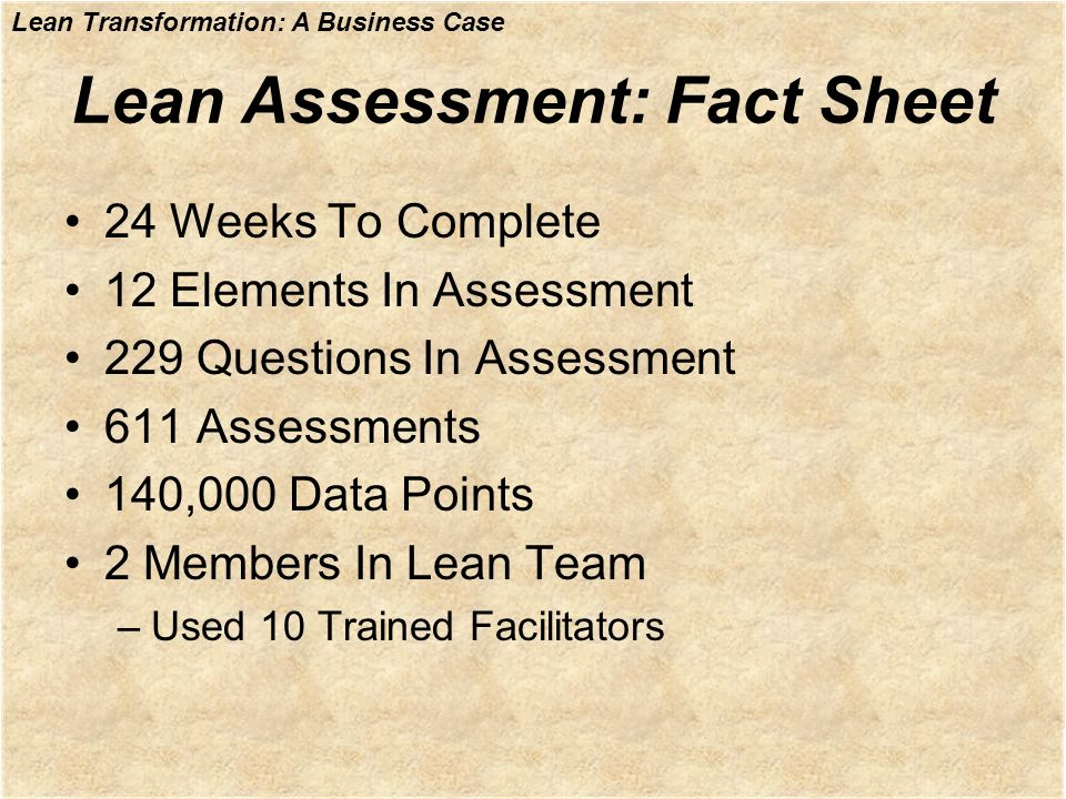 Lean Assessment: Fact Sheet