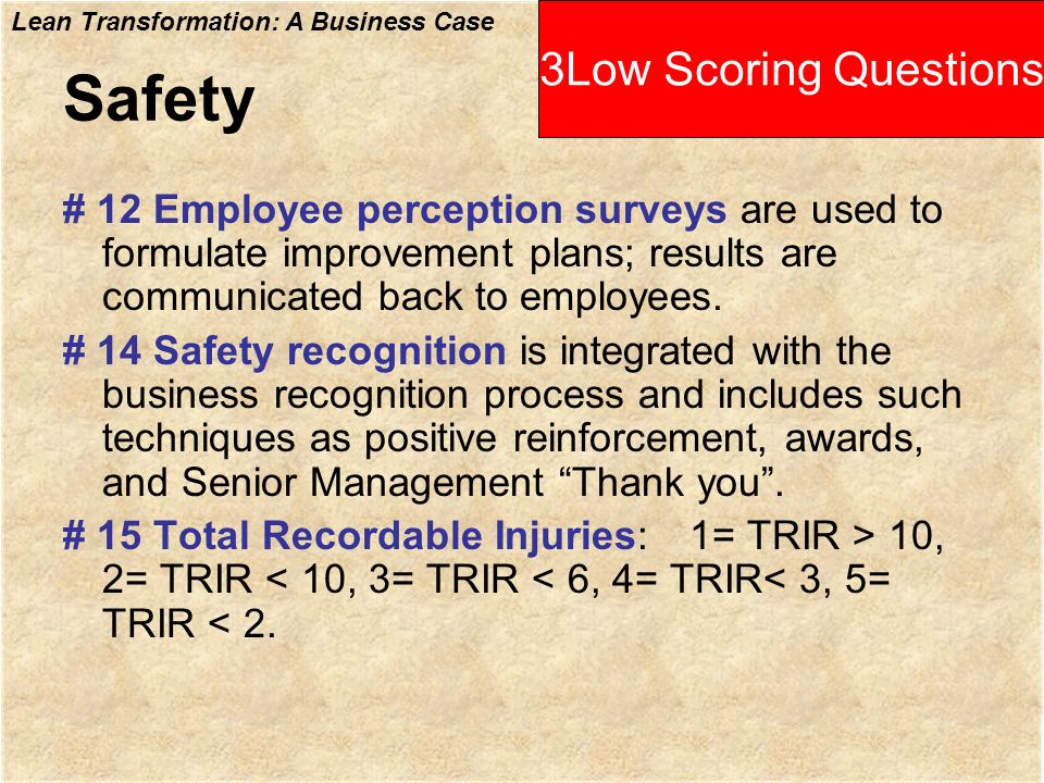 Safety 3Low Scoring Questions