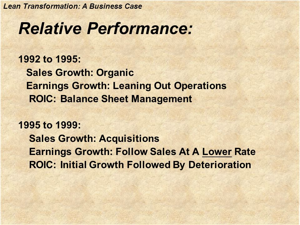Relative Performance: