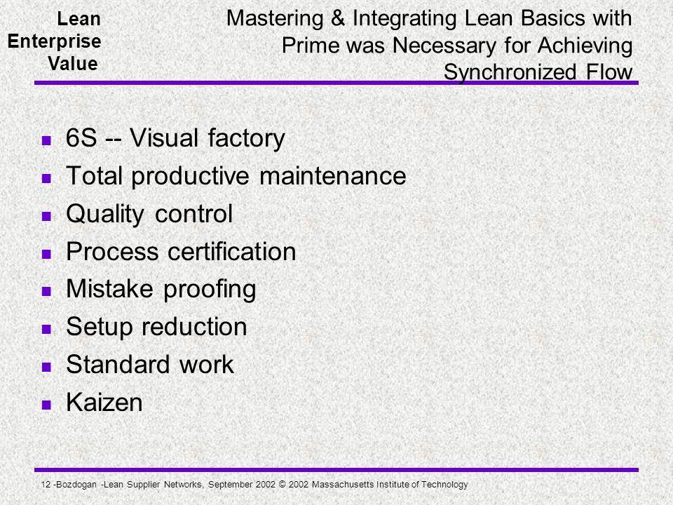 Total productive maintenance Quality control Process certification
