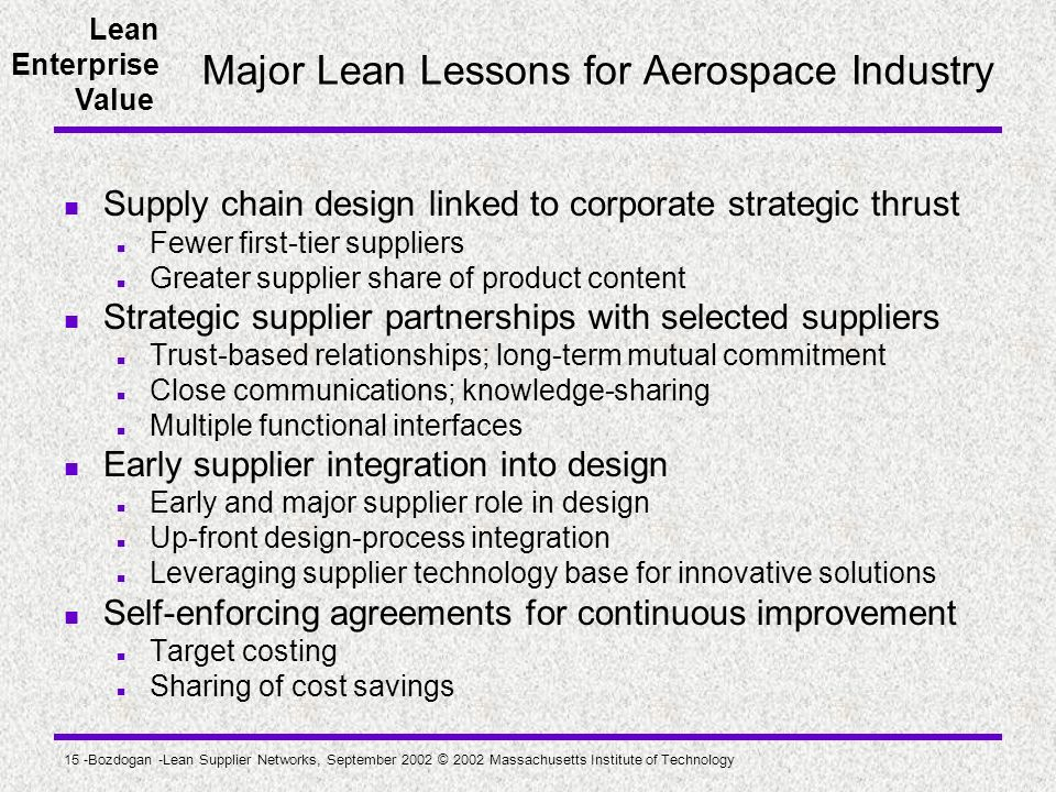 Major Lean Lessons for Aerospace Industry