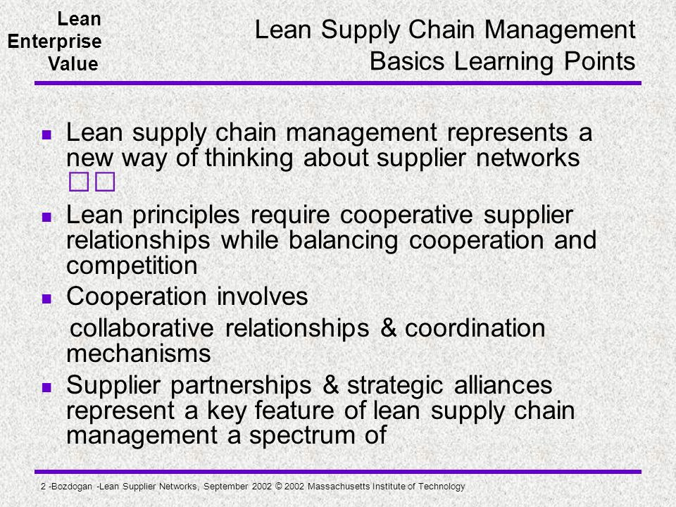 Lean Supply Chain Management Basics Learning Points