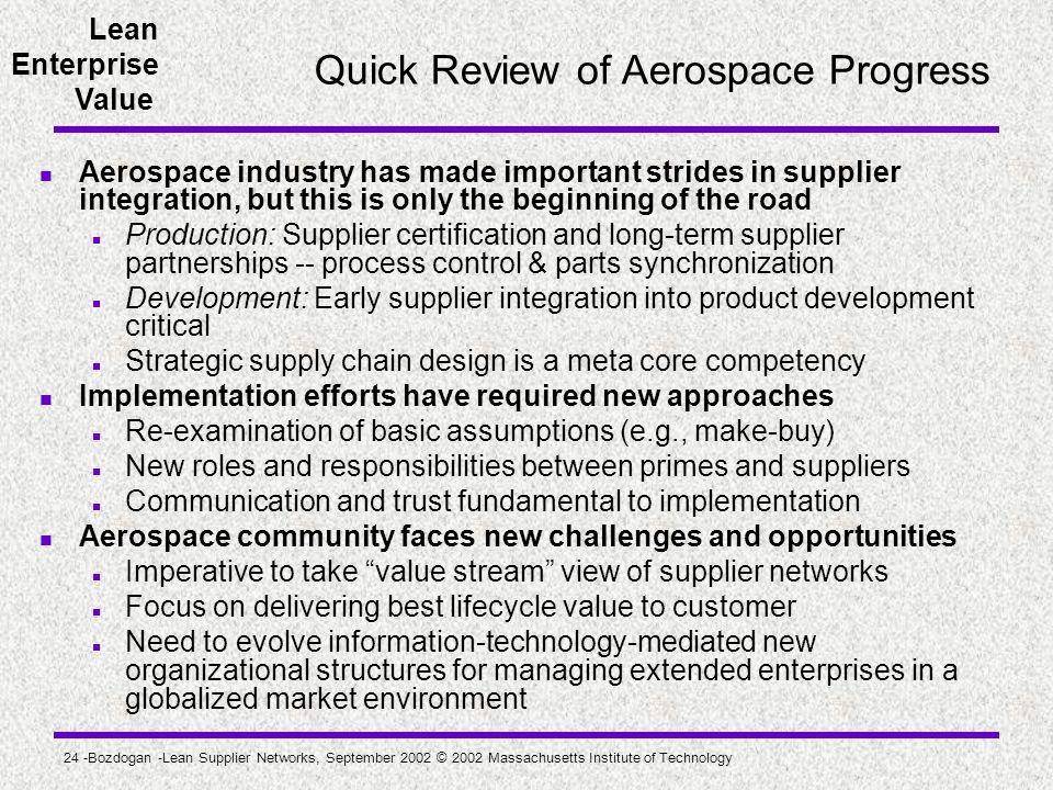 Quick Review of Aerospace Progress
