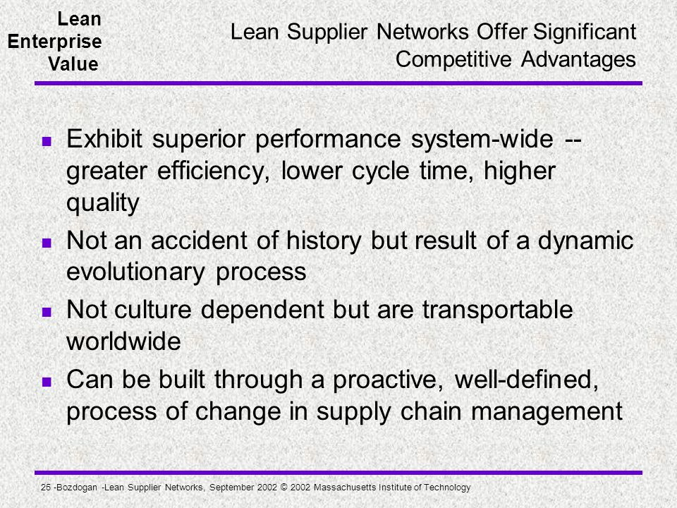 Lean Supplier Networks Offer Significant Competitive Advantages