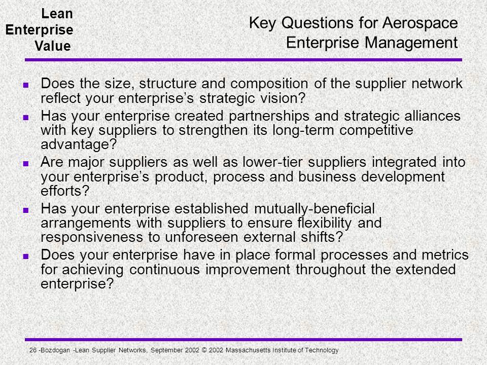 Key Questions for Aerospace Enterprise Management