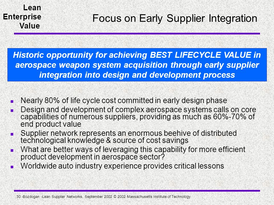 Focus on Early Supplier Integration