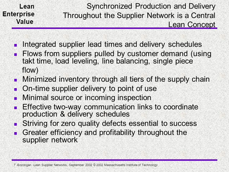 Integrated supplier lead times and delivery schedules