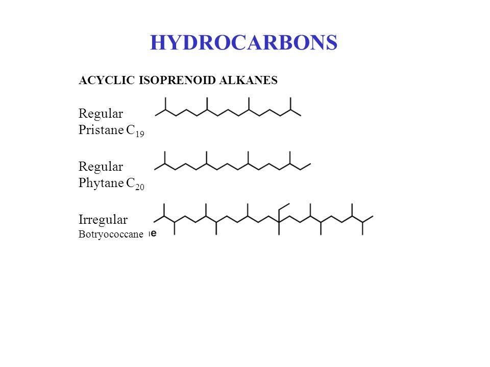 HYDROCARBONS Regular Pristane C19 Regular Phytane C20 Irregular