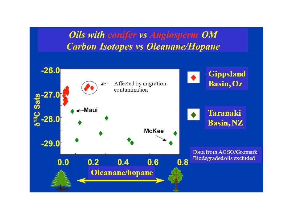 Oils with conifer vs Angiosperm OM Carbon Isotopes vs Oleanane/Hopane