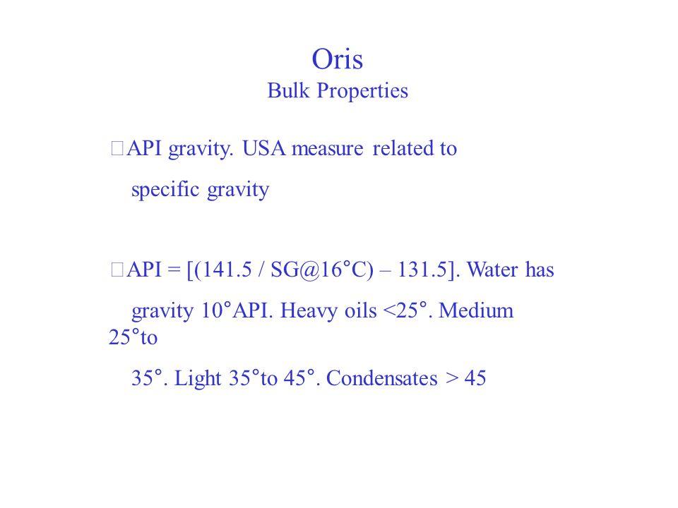 Oris Bulk Properties ‧API gravity. USA measure related to