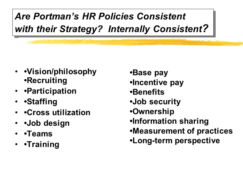 Are Portman's HR Policies Consistent with their Strategy