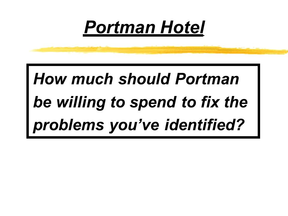 Portman Hotel How much should Portman be willing to spend to fix the