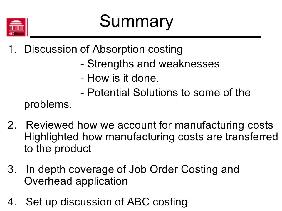 absorption costing overview ppt