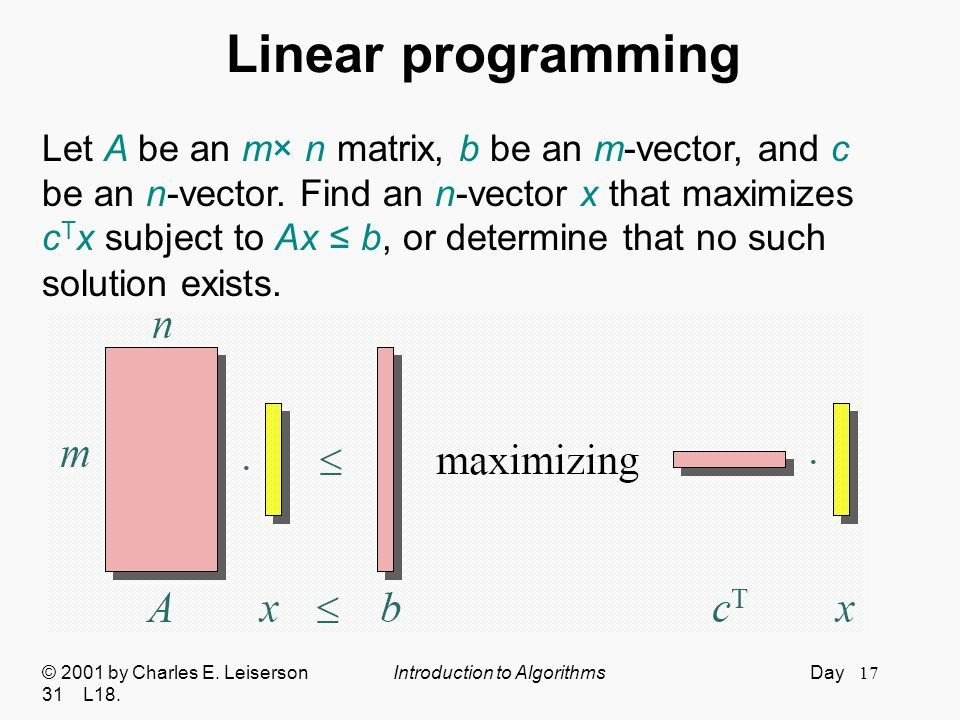 Linear programming Let A be an m× n matrix, b be an m-vector, and c