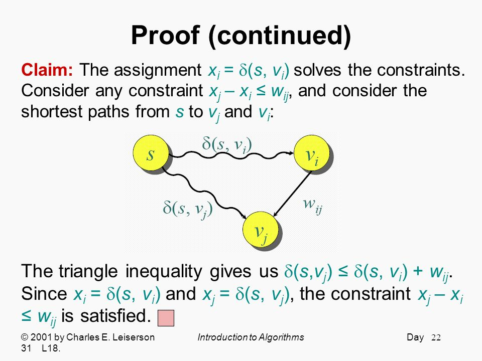 Proof (continued) Claim: The assignment xi = (s, vi) solves the constraints. Consider any constraint xj – xi ≤ wij, and consider the.
