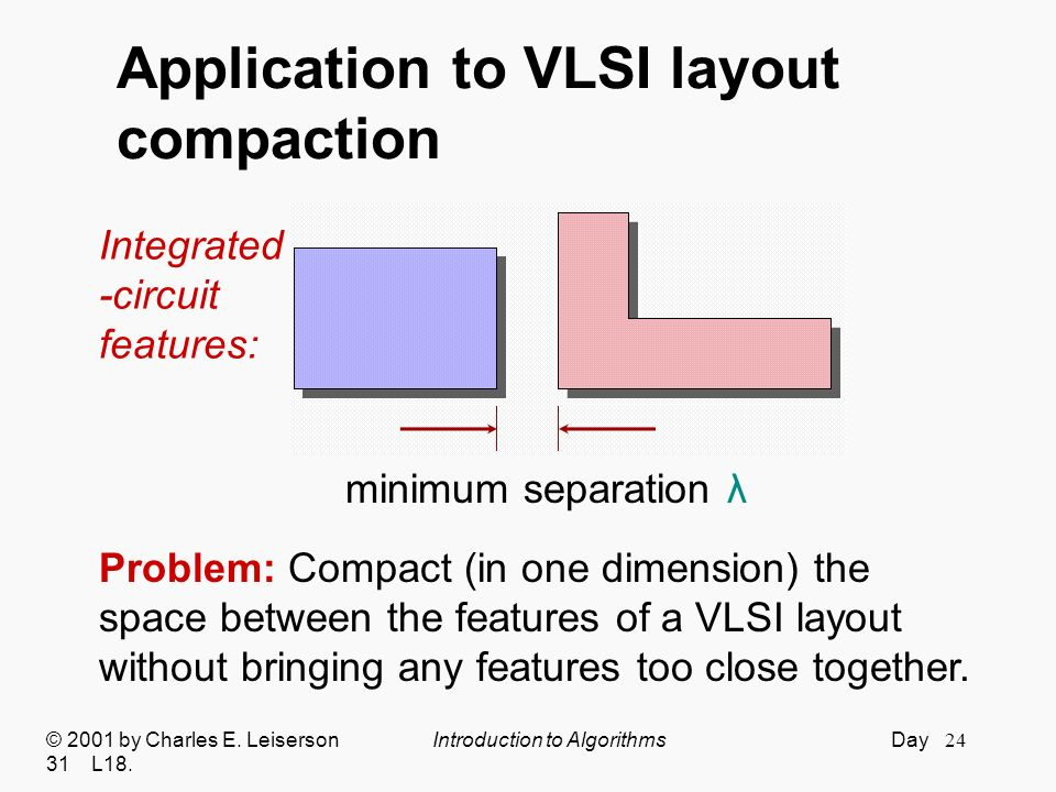 Application to VLSI layout compaction