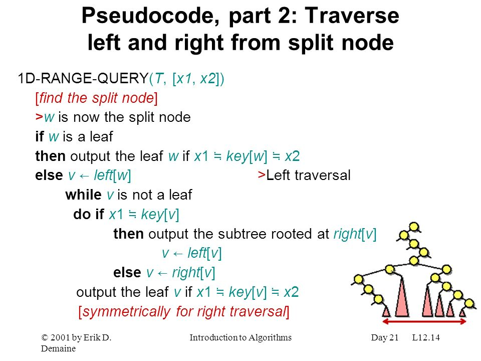 Pseudocode, part 2: Traverse left and right from split node
