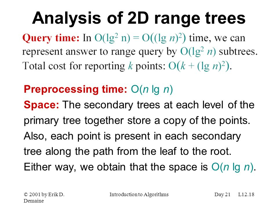 Analysis of 2D range trees