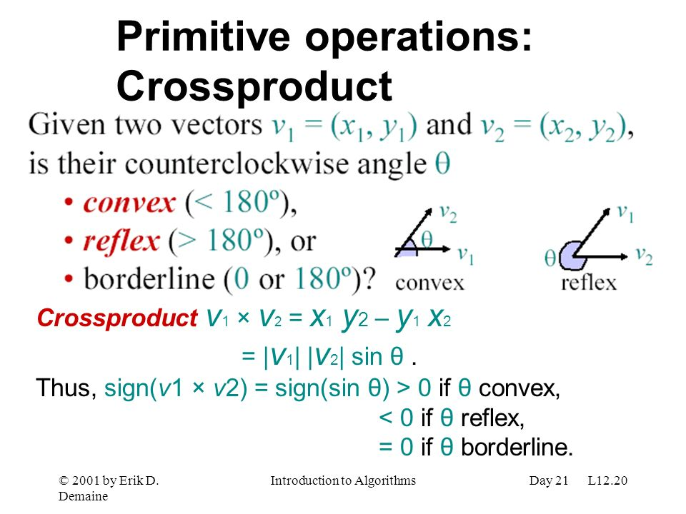 Primitive operations: Crossproduct