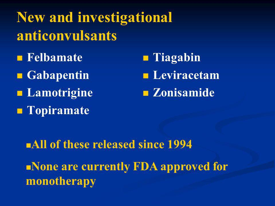 New and investigational anticonvulsants