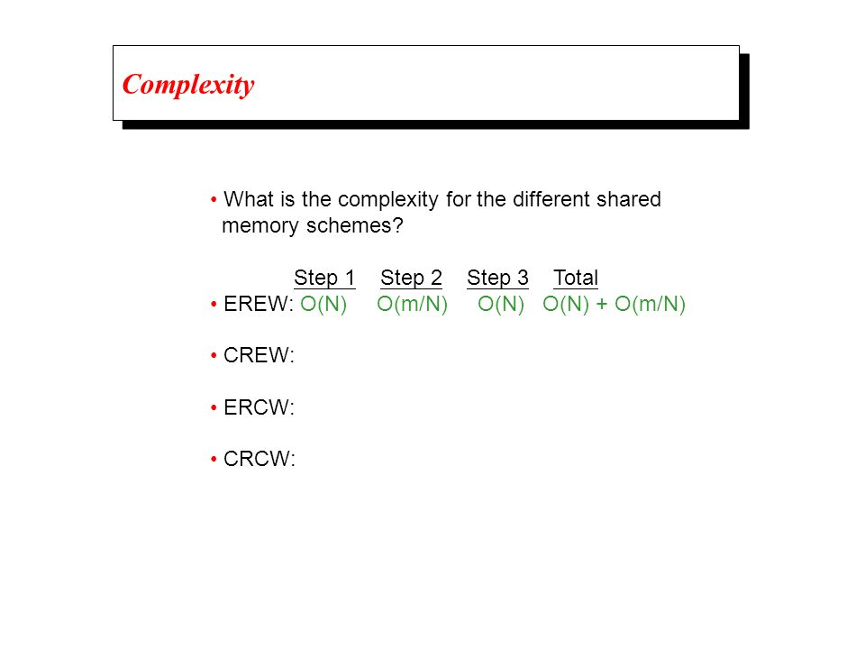 Complexity • What is the complexity for the different shared