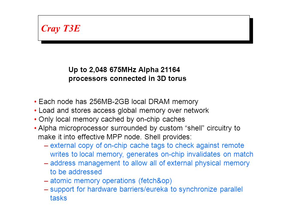 Cray T3E Up to 2,048 675MHz Alpha 21164. processors connected in 3D torus. • Each node has 256MB-2GB local DRAM memory.