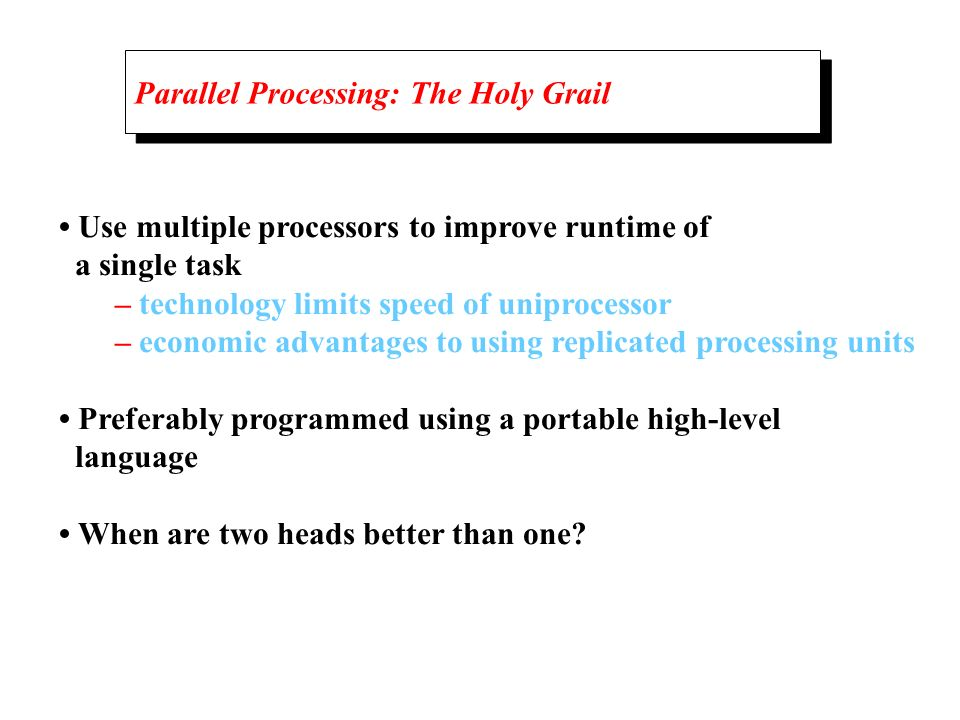 Parallel Processing: The Holy Grail