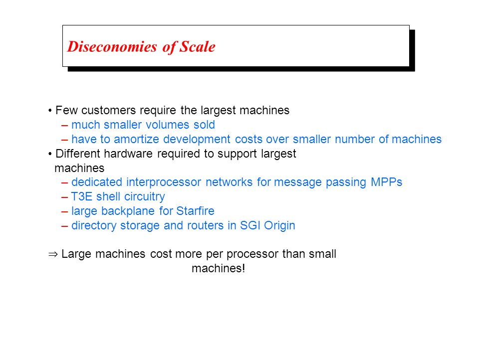 Diseconomies of Scale • Few customers require the largest machines