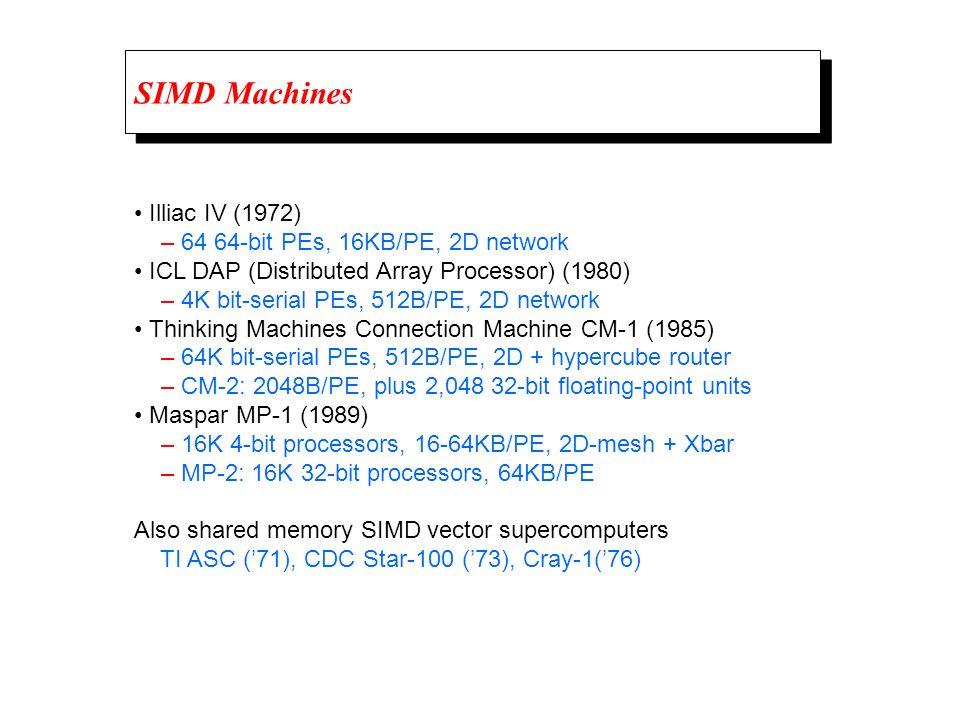 SIMD Machines • Illiac IV (1972) – 64 64-bit PEs, 16KB/PE, 2D network