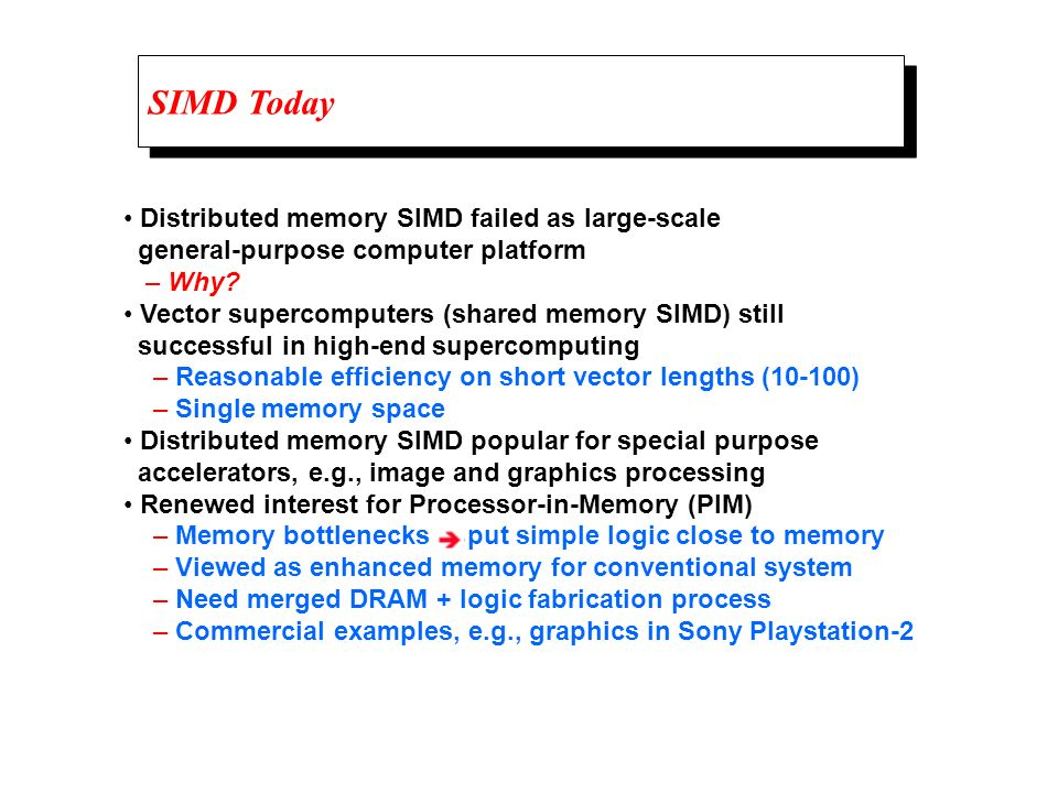SIMD Today • Distributed memory SIMD failed as large-scale