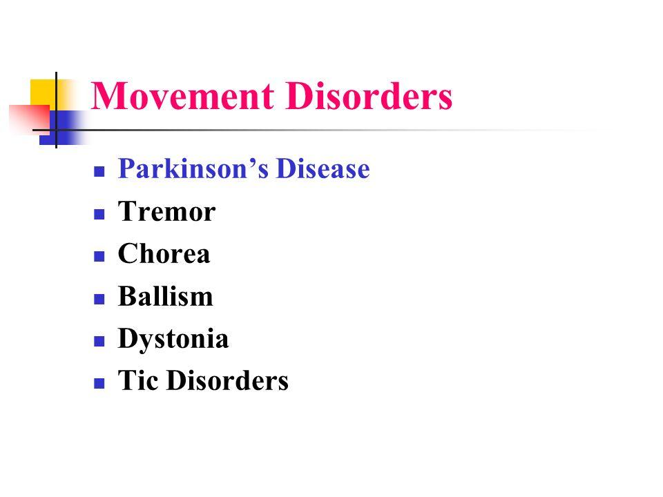 Movement Disorders Parkinson's Disease Tremor Chorea Ballism Dystonia