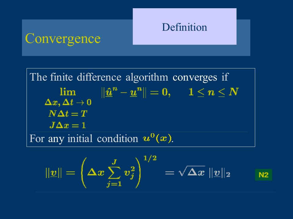 Convergence Definition The finite difference algorithm converges if