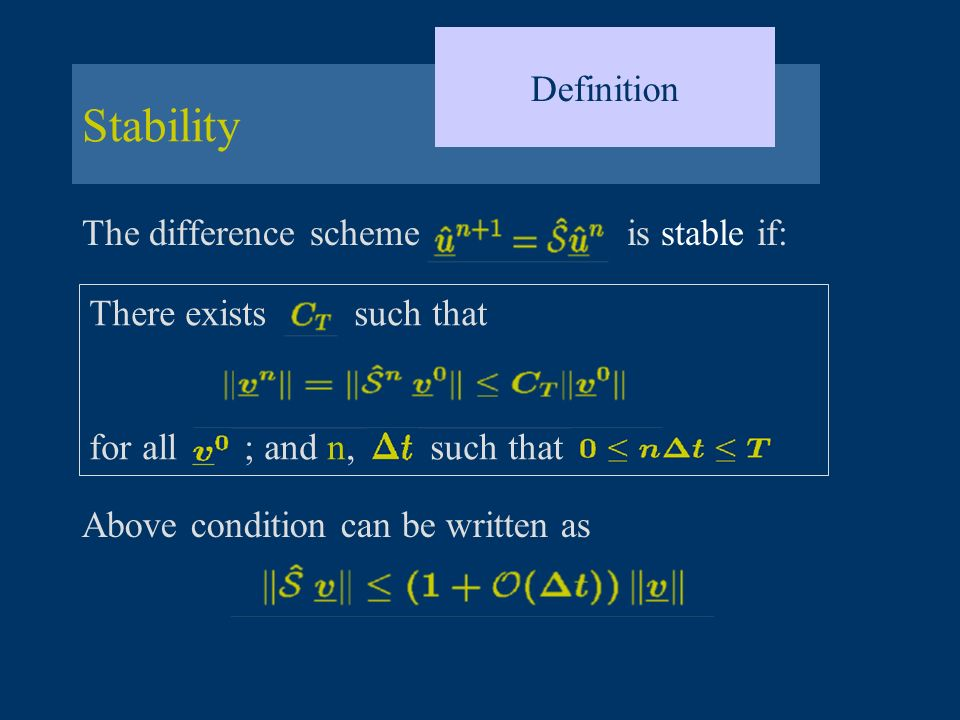 Stability Definition The difference scheme is stable if: