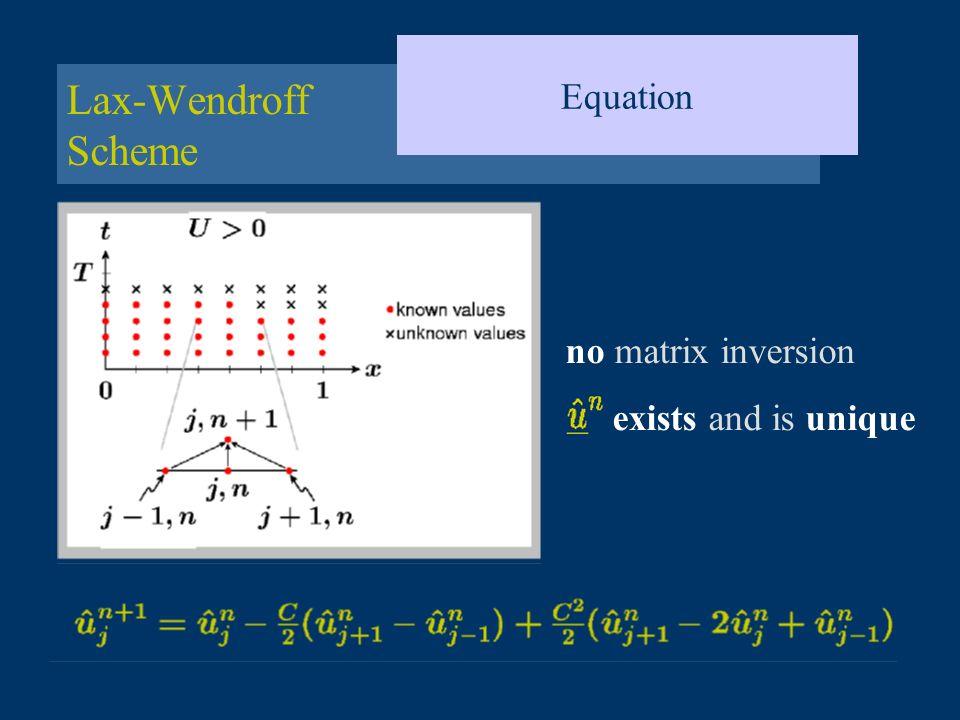 Equation Lax-Wendroff Scheme no matrix inversion exists and is unique