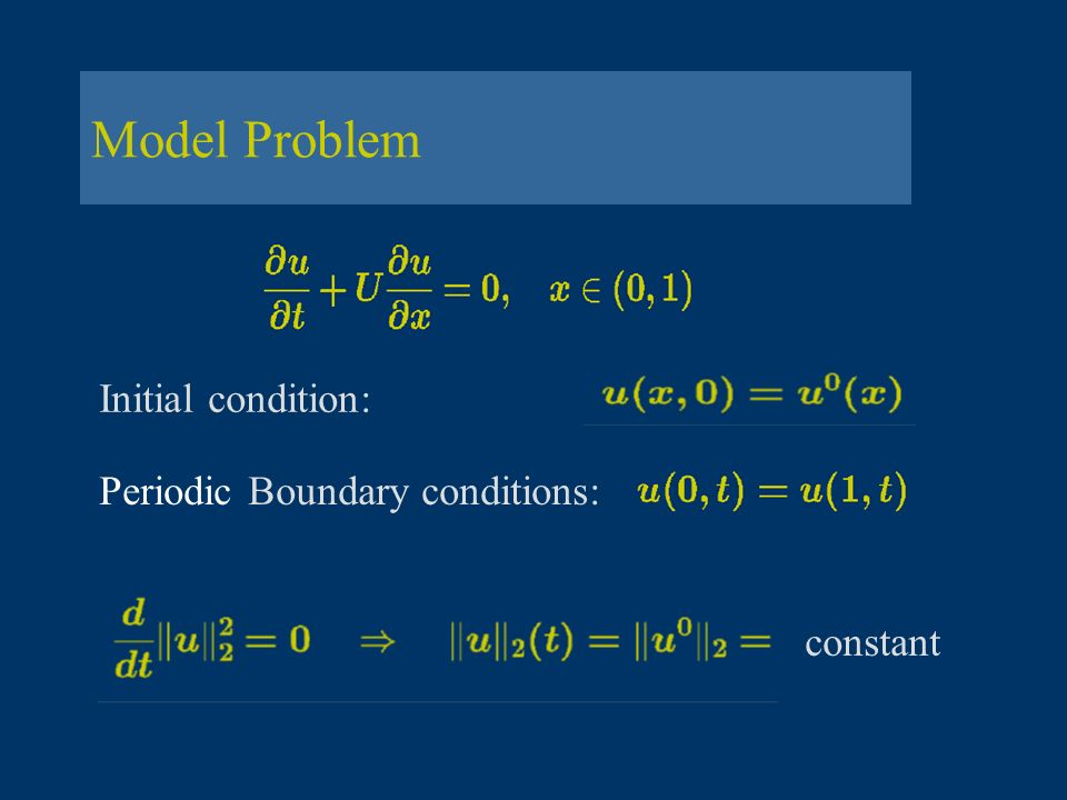 Model Problem Initial condition: Periodic Boundary conditions:
