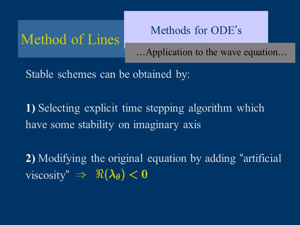 …Application to the wave equation…