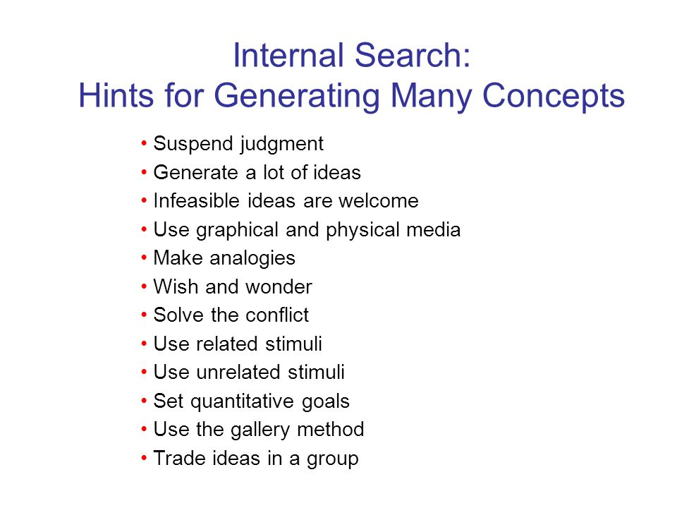 Hints for Generating Many Concepts