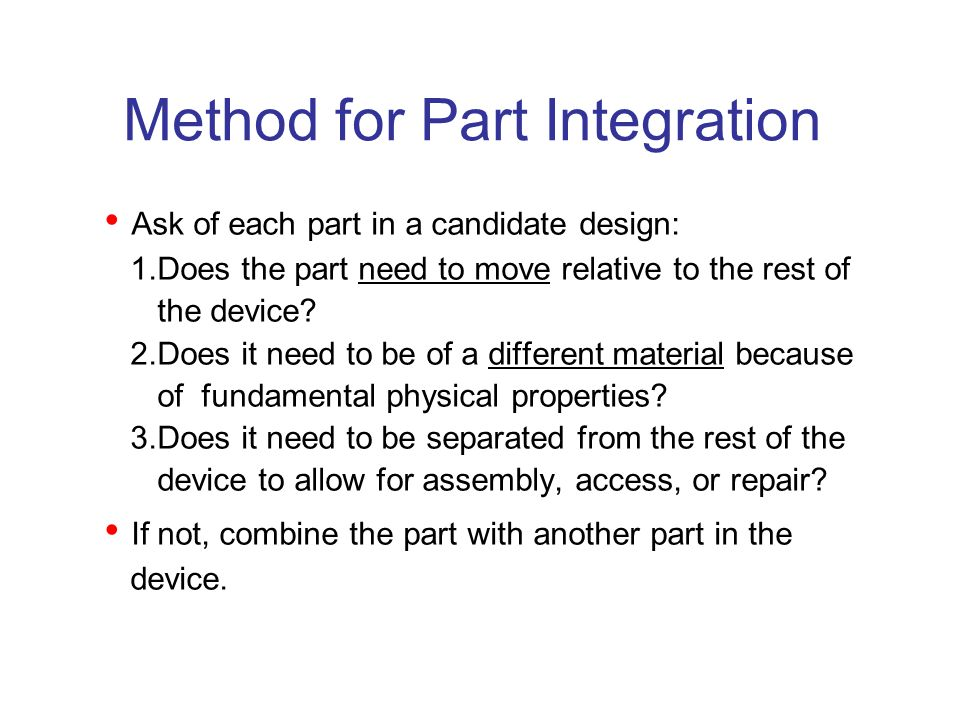 Method for Part Integration