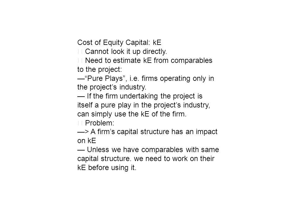 Cost of Equity Capital: kE